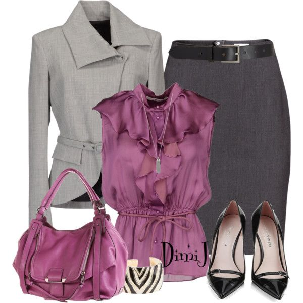 Work OutfitPurple, Offices Looks, Colors, Fashionista Trends, Grey, Pencil Skirts, Work Outfits, Business Casual, Girls Outfit