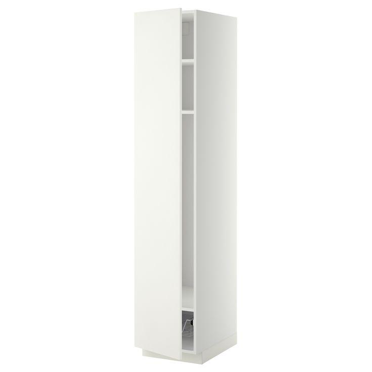 METOD Ψηλό ντουλάπι με ράφια/συρμάτινο καλάθι - IKEA
