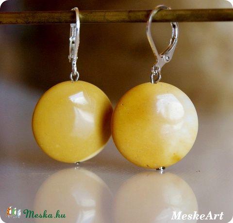 Sárga mookait fülbevaló / Mookait earring / Mookait nausnice