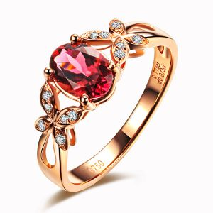 Luxury High Quality Real 0.7ct Tourmaline Ring 18K Rose Gold With Diamond Stones