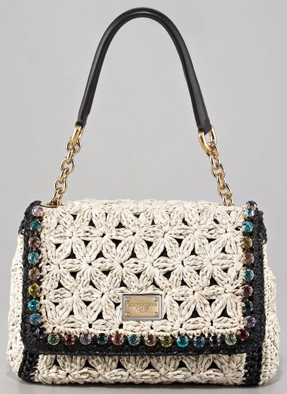 Dolce & Gabbana Jeweled Crochet Shoulder Bag