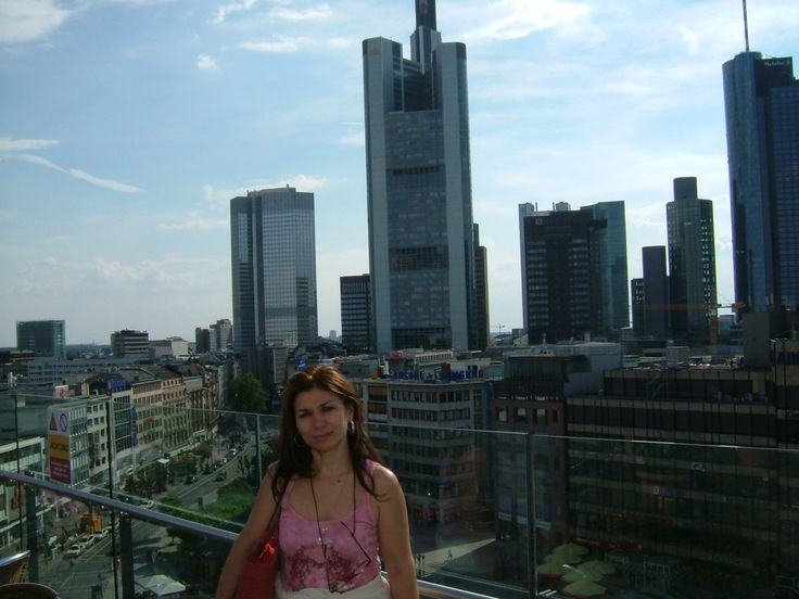 The view of the modern part of Frankfurt, Germany called the mini N.York town.2005