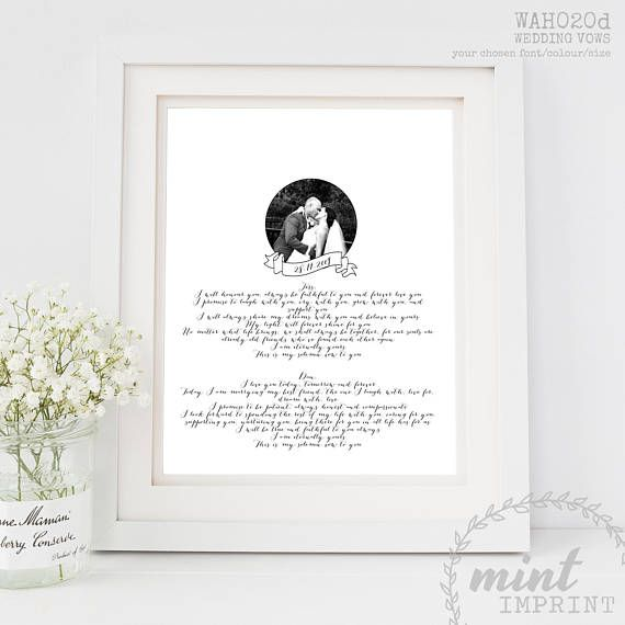Wedding Vows Print / Wedding 1st Anniversary Gift Paper / Christmas Gift for Husband or Wife / Gift for the Newlyweds Keepsake Printable or Printed  Treasure your spoken words from your big day with your Vows (or song lyrics/poem/speech) formatted to suit your style and printed or sent as