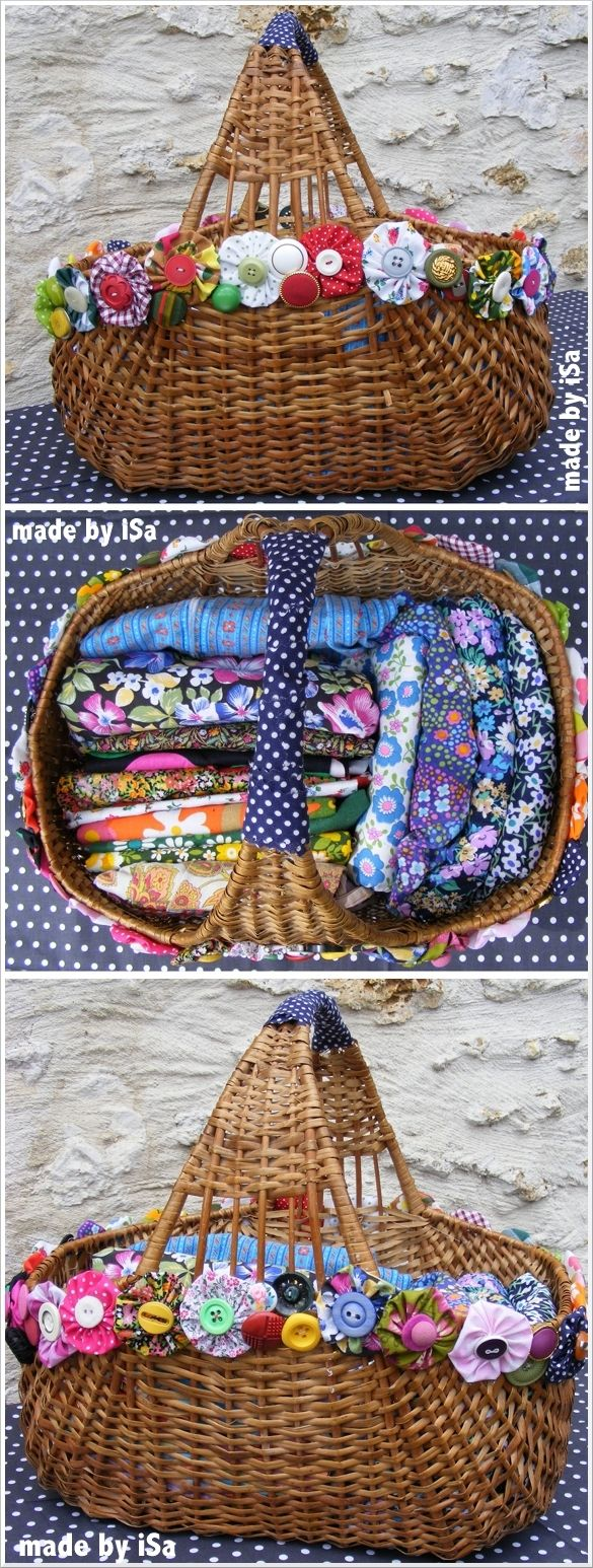"""cute yo yos on basket-- would be cute for cloth diaper """"storage"""" or for fabric"""