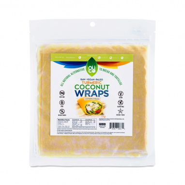 Enjoy Organic Turmeric Coconut Wraps by Nuco, which are gluten-free, soy-free, verified non-GMO, and certified organic.