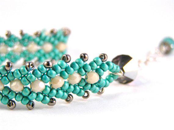 St. Petersburg Bracelet - Czech Fire Polish Glass, Swarovski Crystal, Glass Beads, & Sterling Silver - Adjustable! - Turquoise/Cream Colorway by knitbeadlove