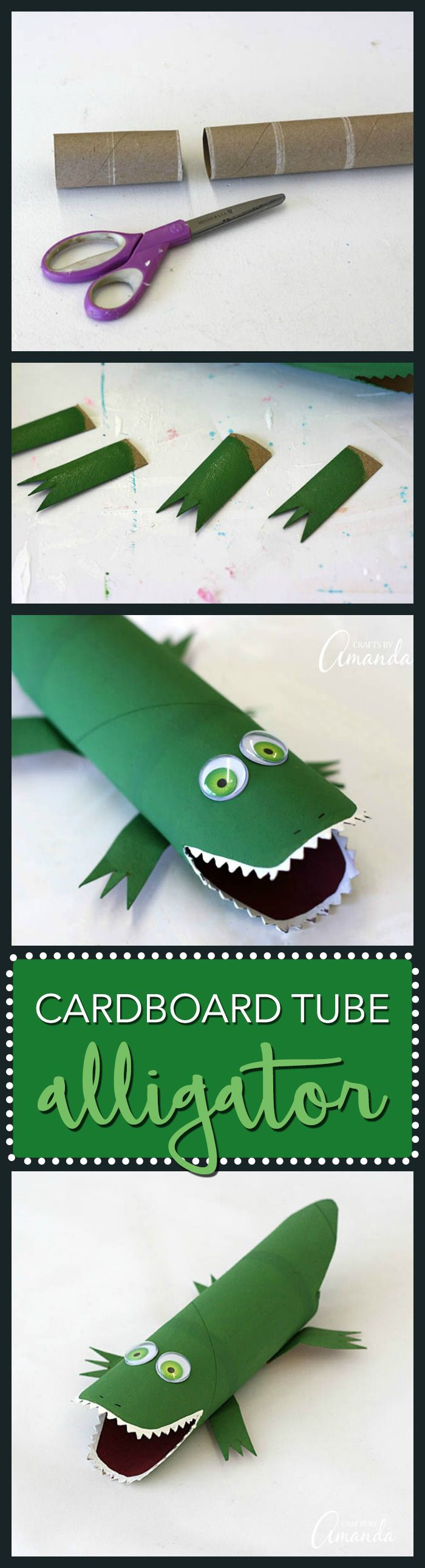 Cardboard Tube Alligator: make this cute alligator from a paper towel roll - Cardboard roll crafts are tons of fun and this cardboard tube alligator is no exception. This cute alligator craft will be lots of fun for the kids!