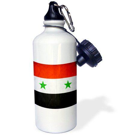 3dRose Syria Flag, Sports Water Bottle, 21oz, White