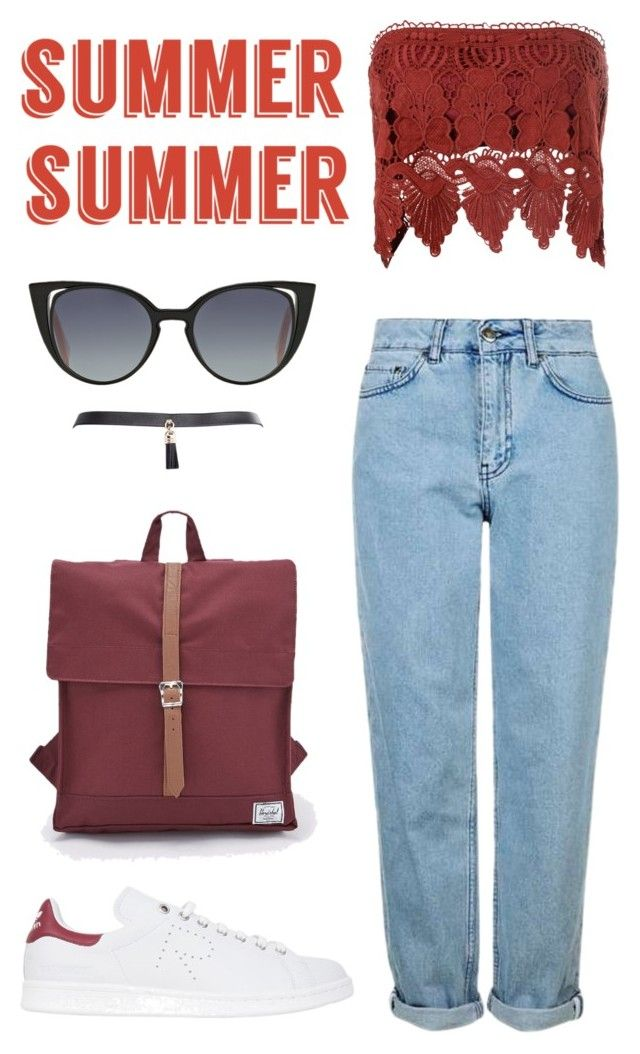 """red summer"" by ksasya on Polyvore featuring Topshop, Glamorous, adidas, Herschel Supply Co., Fendi, Summer, red, 2016 and summer2016"
