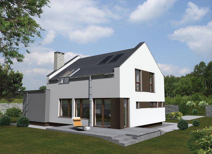 """Projekt domu """"Preferowany"""" dla miłośników nowoczesnej architektury. Na niespełna 100 mkw. może szczęśliwie zamieszkać, co najmniej czteroosobowa rodzina."""