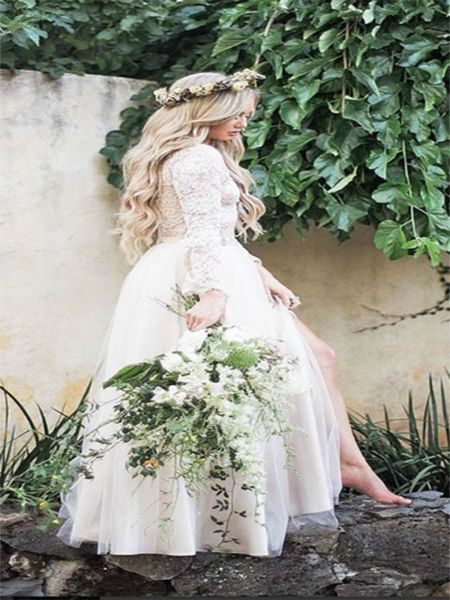 A-Line Lace Long Sleeves Cheap Beach Wedding Dresses,FPWD027
