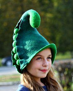 """Купить Шапка для бани """"Садовый эльф"""". - зеленый, однотонный, изумрудный, шапка, шапка для бани, баня"""