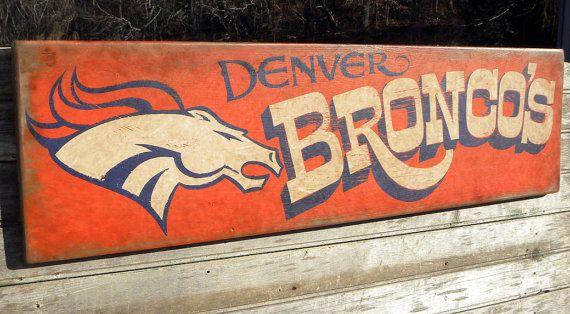 Denver Broncos  football   Sign original by ZekesAntiqueSigns, $95.00