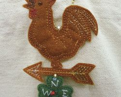 """brown weathercock and clover"" embroidered lucky charm Ⓒ HAPPa-Ya Nagako Ono  URL: http://happa-ya.net #clover #felting #weathercock #chicken #rooster #cock"