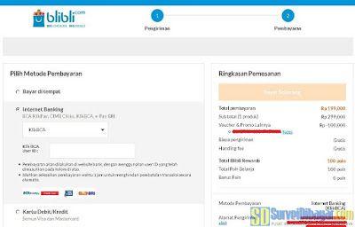 Jumlah yang harus dibayarkan setelah dipotong voucher gratis Blibli | SurveiDibayar.com