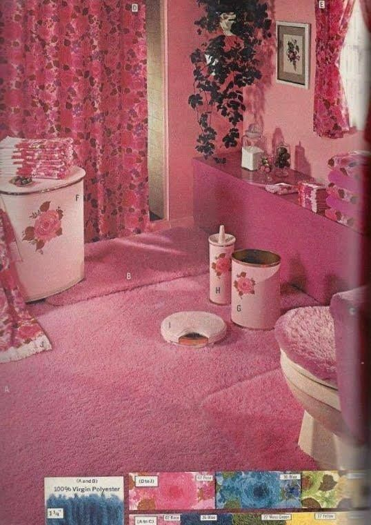 1971 Sears catalog. Only in the 70s would it have been thought a good idea to have pink shag carpeting in a bathroom