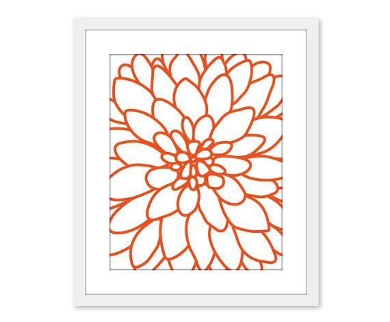 Dahlia Flower No 2 Art Print Wall Art Modern Home Decor Tangerine Orange Under 20