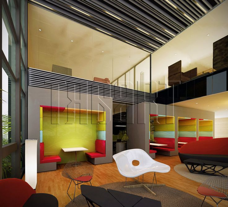 Break area with meeting pods design by traart interior design