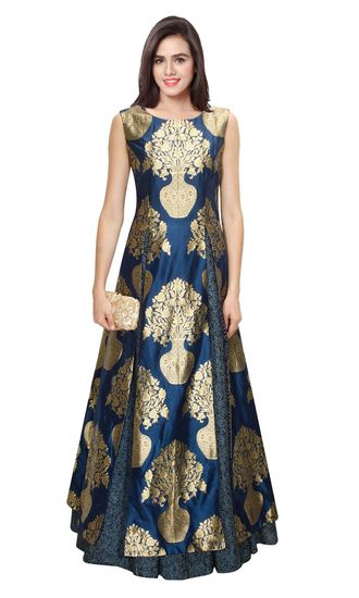 New Navy Blue Jacquard Floral Pot Designer Gown by Kmozi