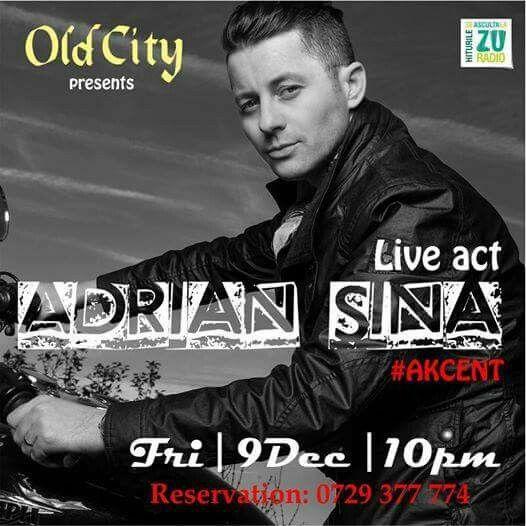 """Vineri, 9 Decembrie, orele 22.00, te așteptăm la un nou concert cu Adrian Sina la Old City, Șelari 14. Un show #live de excepție cu hit-uri precum """"Tu m-ai dat gata"""", """"Lasă-mă așa"""", """"Noi simțim la fel"""", """"Orice fac e bun cu tine"""" și multe altele, Vineri (9 Decembrie). Intrare liberă pe bază de rezervare: 0729.377.774 #Concert #AdrianSina #OldCity #Selari14 #VIPstyle"""