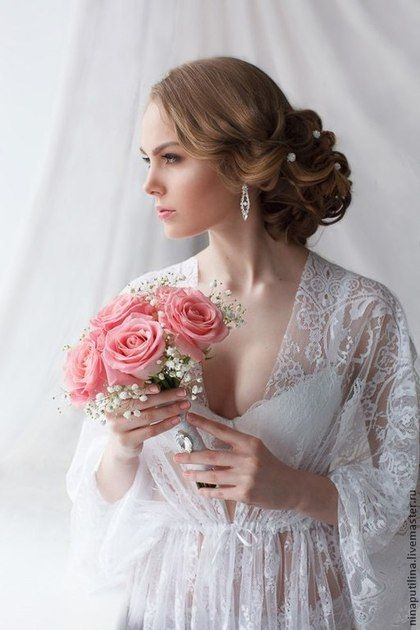 Купить Кружевной пеньюар - белый, пеньюар, кружевной пеньюар, пеньюар для невесты, невеста, для невесты