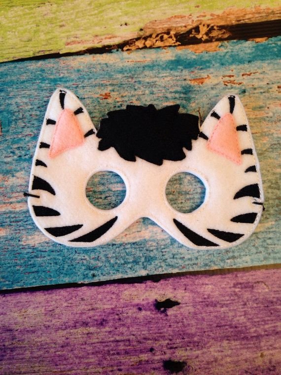 Striped fun awaits you in this fun felt zebra mask! Made of soft felt, this mask is a comfortable to wear as it is cute! Need different colors? Let me know