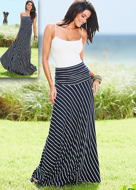 Seamless cami, stripe strapless maxi dress skirt by VENUS