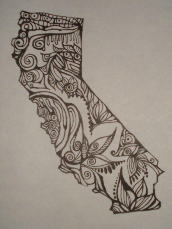 california outline w design interior original drawing negative space washington state and. Black Bedroom Furniture Sets. Home Design Ideas