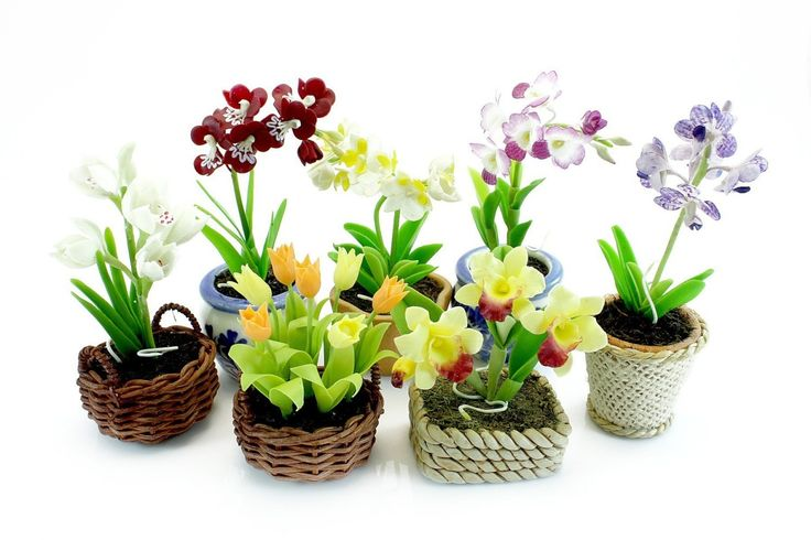 Miniature Polymer Clay Flowers Supplies Orchids and Tulip, Special Set 7 pcs. $39.50, via Etsy.