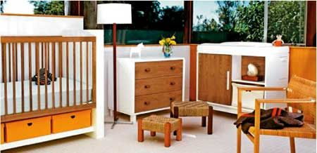 mid century modern baby furniture. I'd love to have this nursery, but not so sure I can justify all new, expensive nursery furniture for the third baby :/