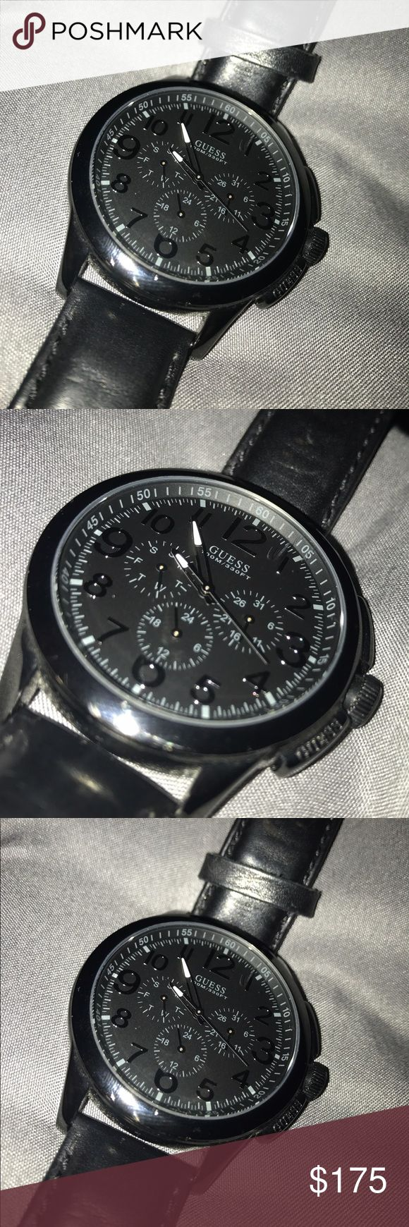 Men's waterproof black GUESS watch This watch is so perfect for everyday outfits! It is an all black men's GUESS watch. It is also waterproof. There is a little scratch between the 12 and the 1, but it is barley noticeable because the watch is all black. The watch was only worn 3 times. Has not been worn in 3 years so it needs a battery replacement. This is an awesome gift that goes with any outfit!  Guess Accessories Watches