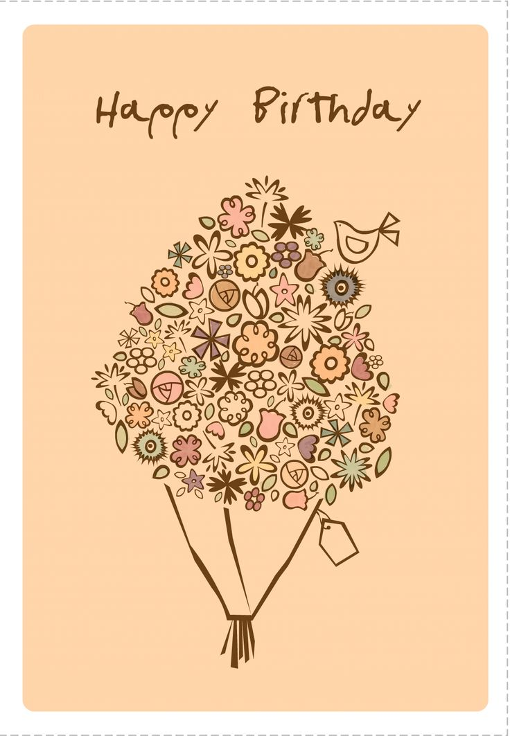 Free Printable Happy Birthday Bouquet Greeting Card