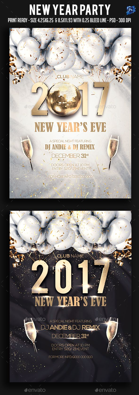 New Year Party Flyer Template PSD #download                                                                                                                                                                                 More