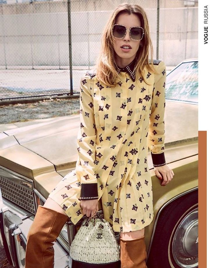 A romantic look with flower prints gains a touch of toughness with decorative studs. The Fay Printed Dress as seen on Clara McGregor for Vogue Russia.