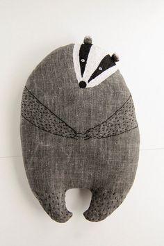 Peter the Badger, badger soft toy, stuffed animal, kids room pillows, animal shape pillow, best buddy, best friend gift, baby shower gift