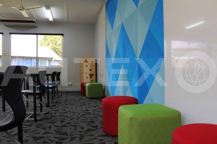 Autex Interior Acoustics - Composition Peel'N'Stick - St Michaels College, Ashgrove, QLD, Australia - Colours: Azure & Electric Blue - Designed by Touches Interiors - Acoustics in Education