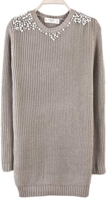 Grey Long Sleeve Bead Embellished Long Sweater EUR€25.22