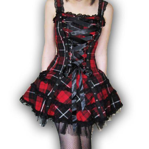 HELL BUNNY Club MINI DRESS HARLEY Tartan RED Gothic PUNK