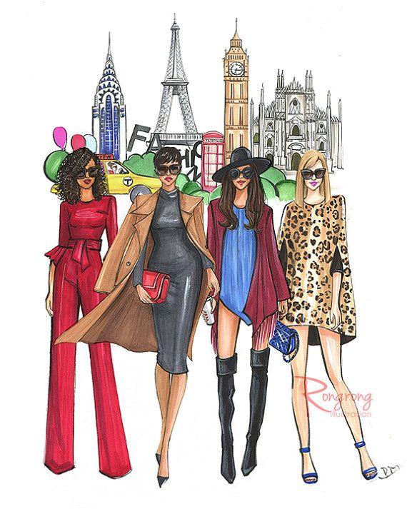 Fashion week Illustration, Fashion illustration Sketch,Fashion Print,Fashion wall art,Fashion art,Fashion poster,Titled-FASHION WEEK