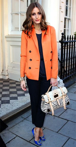 Olivia Palermo attended the Mulberry runway show during London Fashion Week in an eye-catching blazer.