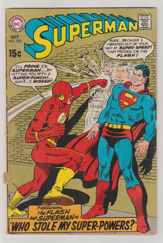 Superman Vol 1 220 Silver Age Comic Book.  by RubbersuitStudios #superman #flash #comicbooks #etsy