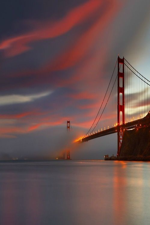San Francisco - Golden Gate Bridge. I have been under, on, and over this bridge. It was stunning in every way. By boat, car, or plane this bridge is truly a masterpiece.