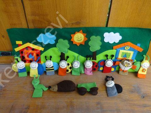 Interaktív Bogyó és Babóca játszópad, játszószőnyeg, játékszőnyeg, bábkészlet, Játék, Báb, Játékfigura, Plüssállat, rongyjáték, Meska