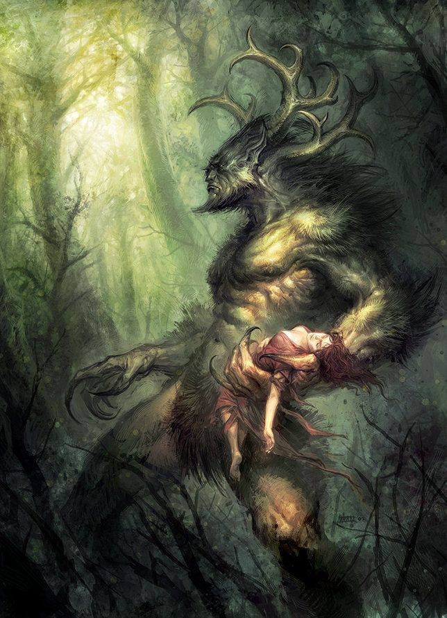 Wendigo.: Michael Ivan, God Daughters, Concept Art, Fantasy Art, Horns God, Michalivan, Green One, The Beast, Fantasy Creatures