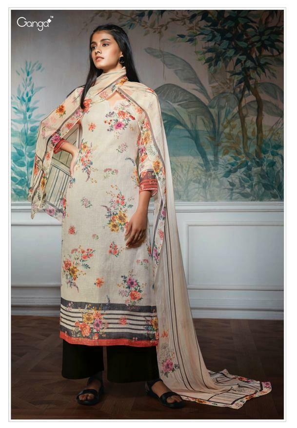 c59660d95c Ganga fashion Hollis digital printed linen salwar kameez latest catalog Ganga  fashion 2019 at Wholesale Price
