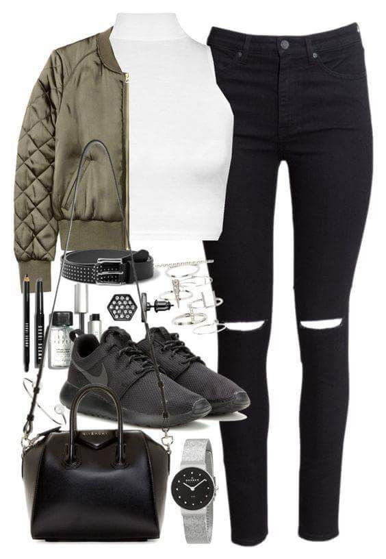Puffy Casual Jacket over White Cropped Top and Black Jeans and Sneakers- Club Ready Look!