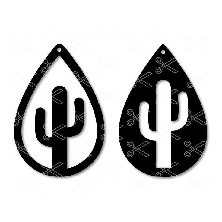 Download Cactus TearDrop Earring SVG DXF | Silhouette earring, Diy ...
