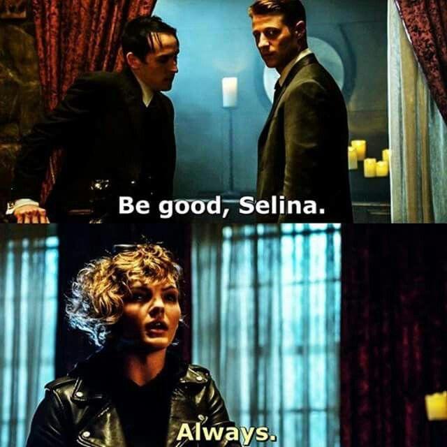 """Be good, Selina"" - Jim, Penguin and Selina #Gotham"
