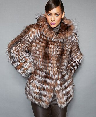 """Plush fox fur gets a fresh, """"feathered"""" look from The Fur Vault. The oversized hood makes this luxe jacket even cozier! 