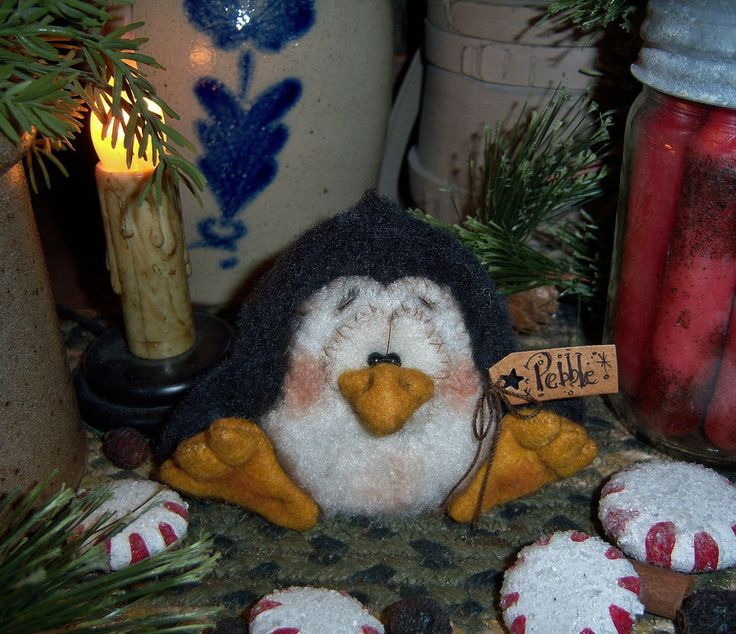 "Primitive Penguin Bird Doll Christmas Ornament 3"" Patti's Ratties Snowman Bear"
